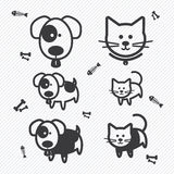 Cat and Dog icons. illustration Royalty Free Stock Images