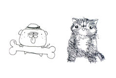 Cat and dog illustration Stock Photo