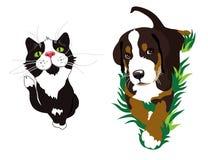 Cat and dog. Isolated on white background. Illustration Royalty Free Stock Photo