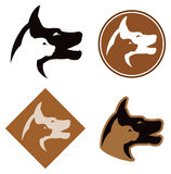 Cat and Dog Logo. A cat and dog silhouette logo icon set in black and white and colour vector illustration