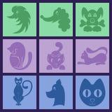 Cat And Dog Logo Set semplice Fotografia Stock Libera da Diritti