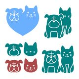 Cat and dog logos. Multiple illustrated logos of cat and dog pairs in blue, green or red, isolated on a white background royalty free illustration