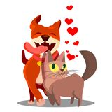 Cat With Dog In Love avec le vecteur volant de coeurs Illustration illustration de vecteur