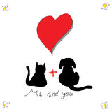 Cat with dog for love greeting card Stock Photography