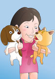 Cat and dog  lover. Illustration of a happy smiling girl playing carry her cat and dog Stock Photos