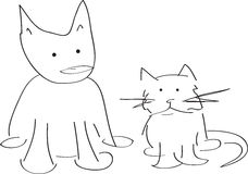 Cat and dog modern line drawing Royalty Free Stock Images