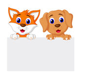 Cat And Dog With Paper Stock Images