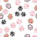 Cat and dog paw print with claws. Original trendy vector seamless pattern with cats and dogs paw print with claws Stock Photography