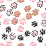 Cat and dog paw print with claws Stock Images