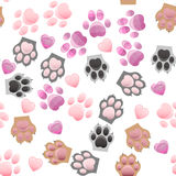 Cat and dog paw print with claws. Original trendy vector seamless pattern with cats and dogs paw print with claws Stock Photo