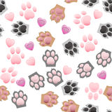 Cat and dog paw print with claws Stock Photography