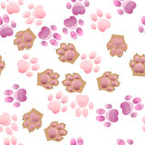 Cat and dog paw print with claws Stock Photos