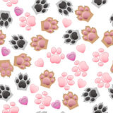 Cat and dog paw print with claws. Original trendy vector seamless pattern with cats and dogs paw print with claws Royalty Free Stock Photography