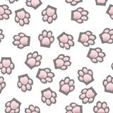 Cat and dog paw print with claws. Original trendy vector seamless pattern with cats and dogs paw print with claws Royalty Free Stock Images