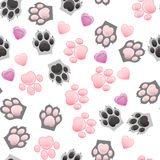Cat and dog paw print with claws. Original trendy vector seamless pattern with cats and dogs paw print with claws Royalty Free Stock Photos