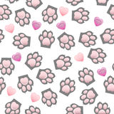 Cat and dog paw print with claws. Original trendy vector seamless pattern with cats and dogs paw print with claws Stock Images
