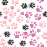 Cat and dog paw print with claws. Original trendy vector seamless pattern with cats and dogs paw print with claws Stock Photos