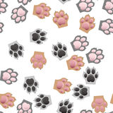 Cat and dog paw print with claws. Original trendy vector seamless pattern with cats and dogs paw print with claws Royalty Free Stock Photo