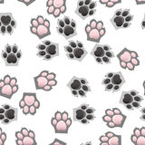 Cat and dog paw print with claws. Original trendy vector seamless pattern with cats and dogs paw print with claws Stock Image