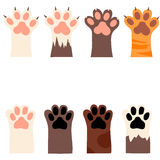 Cat and dog paw print with claws. Original trendy vector set with cats and dogs paw print with claws Stock Images