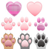 Cat and dog paw print with claws Royalty Free Stock Image