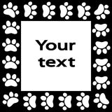 Cat or dog paw prints  frame for your text background Royalty Free Stock Photos