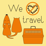 Cat, dog and pet carrier Stock Image