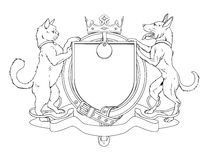 Cat and dog pets heraldic shield coat of arms Royalty Free Stock Images