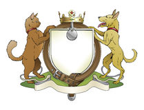 Cat and dog pets heraldic shield coat of arms. Notice the collar instead of garter Stock Image