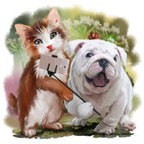 Cat and dog pose for a selfie. Watercolor painting royalty free illustration