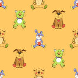 Cat, dog and rabbit background pattern Stock Photos