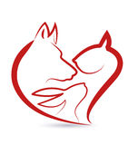 Cat dog and rabbit heads heart shape Stock Image