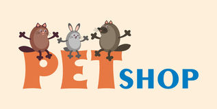 Cat, dog and rabbit. Inscription pet-shop with images of pets. a design element can be used in the design of business cards, flyers, newsletters Stock Photography