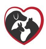 Cat dog and rabbit logo. Vector cat and dog heart love logo design stock illustration