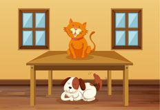 Cat and dog in the room. Illustration stock illustration