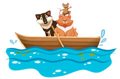 Cat and dog in the rowboat Royalty Free Stock Photos