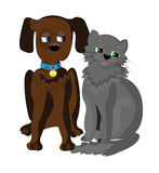 Cat and Dog. Side by side Stock Photo