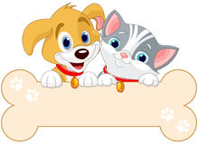 Cat and Dog Sign. Cat and dog are holding sign (add your own message vector illustration