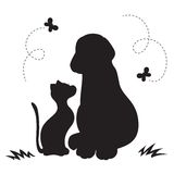 Cat and dog. Silhouette cat and dog with butterfly stock illustration