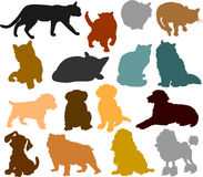 Cat and dog silhouettes 01 royalty free stock photos