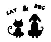 Cat and dog silhouettes. Cartoon stylized cat and dog silhouettes and handmade text vector illustration