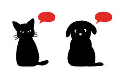 Cat and dog silhouettes. Kitten and puppy with talking bubbles on white background stock illustration