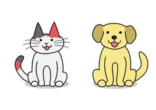 Cat and dog sitting Royalty Free Stock Images