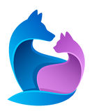 Cat and dog. Are sitting together on a white background vector illustration