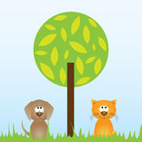 Cat and dog sitting underneath a tree Stock Photo