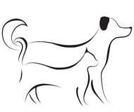 Cat and dog sketch vector Stock Image