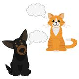 Cat and Dog. Speech bubbles. Domestic animals. Favorite pets. Best friends. Isolated on white background. Flat  illustration Stock Photography
