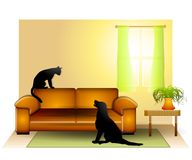 Cat Dog Staring Standoff 2. An illustration featuring an indoor scene with cat sitting upon a couch staring down at a dog - both waiting for the other to make Stock Image