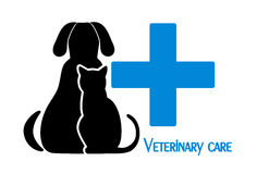 Cat and dog symbol of veterinary medicine. On the image it is presented cat and dog symbol of veterinary medicine Royalty Free Stock Images