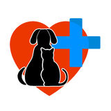 Cat and dog symbol of veterinary medicine. On the image it is presented cat and dog symbol of veterinary medicine